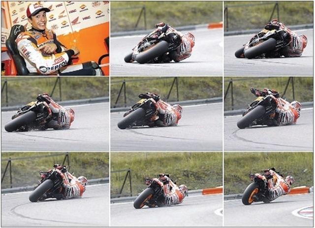 El susto y la caida en moto Márquez brno salva caida