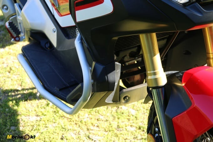 Vista del radiador y horquilla del Honda X-AVD.