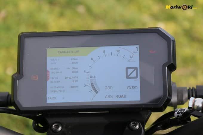 Pantalla de información de la KTM 125 Duke.