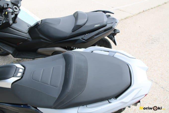 Comparando los asientos del Yamaha Tmax 530 y del Kymco AK 550.