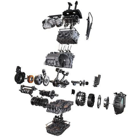 KTM 890 Duke R despiece de su motor LC8